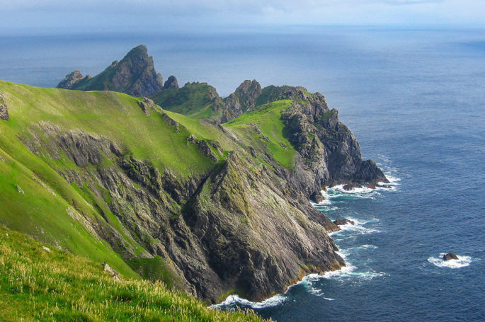 The rugged coast of St Kilda in the Outer Hebrides