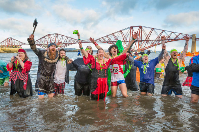 New Year's Day tradition 'The Loony Dook' at the Firth of Forth