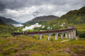 Jacobite Steam Train going over the Glenfinnan Viaduct