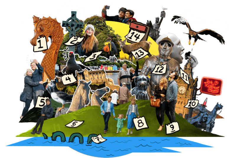 Collage of people visiting iconic Scottish sightseeing locations, interspersed with calendar dates