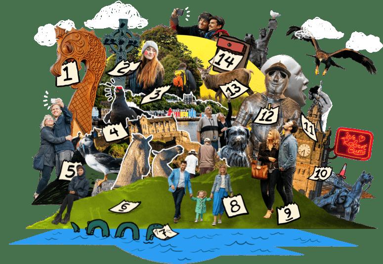 Zusammenstellung von Menschen, die bekannte schottische Sehenswürdigkeiten besuchen, gespickt mit Kalenderdaten